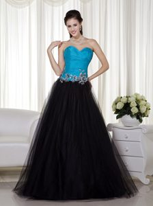 Blue and Black A-line Sweetheart Cheap Prom Attires in and Tulle