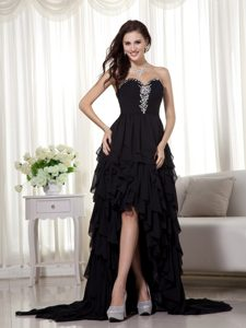 Discount A-line Sweetheart High Low Beaded Chiffon Prom Dress in Black