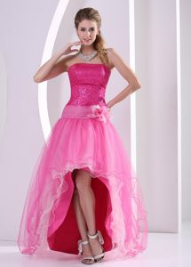 High Low Hot Pink Organza Flowers Decorate Prom Gowns with Sequins