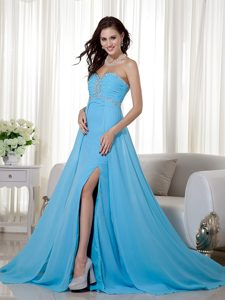 Baby Blue Empire Sweetheart Cute Prom Dress with Beading and Ruching