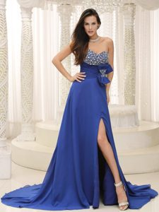 High Slit Beaded Bowknot Decorate Prom Dresses in Peacock Blue On Sale