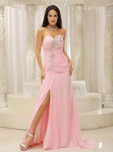 Sweetheart High Slit Prom Gown Dress for Cheap with Beading and Ruching