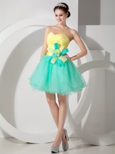 Custom Made A-line Sweetheart Dress for Prom in Apple Green and Yellow