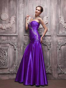 Cheap Purple Sweetheart Long Junior Prom Dress in Taffeta