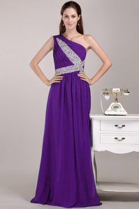 Purple Empire One Shoulder Long Prom Gowns with Sequins On Sale