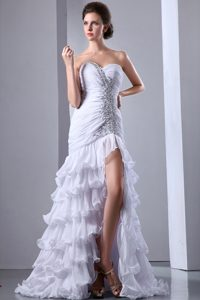 Custom Made White Sweetheart Beaded Prom Dress with Ruffles