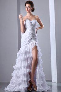 Custom Made White Sweetheart Beaded Prom Dress with Ruffles