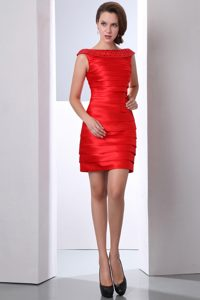 Red Bateau Mini-length Cheap Prom Dresses with Beading