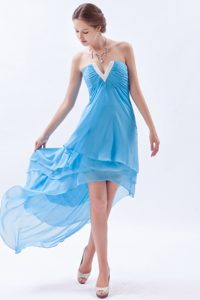 Discount Baby Blue A-line V-neck Chiffon Junior Prom Dress with High Low