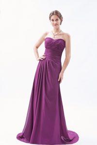 Dark Purple Empire Sweetheart Discount Prom Dress for Cheap
