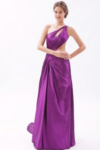Eggplant Purple Asymmetrical Cheap Prom Outfits with Brush Train