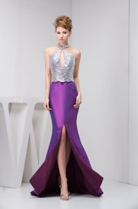 Cheap Silver and Eggplant Purple Prom Attire with Cutout and Brush Train