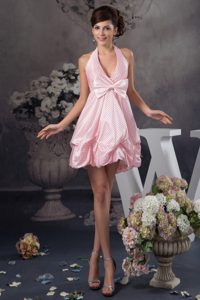 Pink Mini Halter Prom Gown Dress for Cheap with Pick-ups and Bowknot