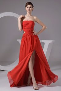 Strapless High Slit Chiffon Prom Dress with Cutout Waist and Ruching for Cheap
