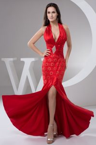 Beaded and Ruched Prom Celebrity Dresses with Plunging Neckline on Promotion