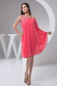 One Shoulder Beaded Mini-length Prom Celebrity Dress in Watermelon for Cheap