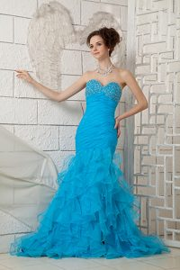 Popular Blue Sweetheart Organza Beaded Prom Formal Dresses for Custom Made