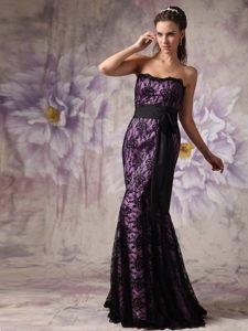 Mermaid Strapless Brush Train Affordable Evening Dress in Dark Purple with Sash