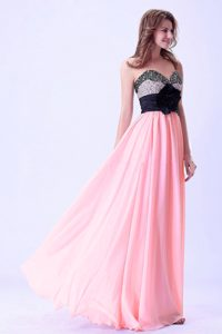 Pink and Black Sweetheart Beaded Elegant Evening Dresses with Handmade Flower
