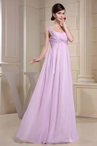 Beads Decorated One Shoulder Pink Vintage Evening Dresses with Ruched Bodice