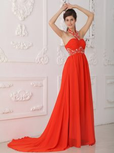 Empire Halter Court Train Red Chiffon Vintage Evening Dresses with Beading