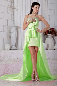 Empire Beaded Sweetheart Plus Size Evening Dresses in Yellow Green