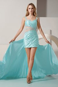 Sexy Detachable Light Blue High-low Evening Dresses with Beading and Cutouts