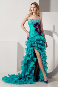 Turquoise Sweetheart Slit Beaded Summer Evening Dresses with Ruffles