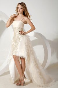 White Straps Ladies Evening Dresses with High-low and Watteau Train