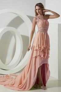 Beautiful Peach One Shoulder Ruched Evening Dresses for Women with High-low