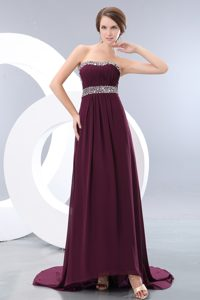 Strapless Brush Train Chiffon Beaded Empire Evening Wear Dress in Dark Purple