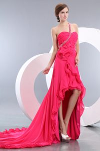 Sexy Hot Pink Empire High-low Chiffon Evening Gown Dress with One Shoulder
