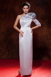 Unique Silver Satin Classy Evening Dresses with Flowers and One Sleeve