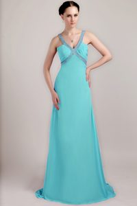 Sheath V-neck Brush Train Beading and Ruched Evening Dresses in Baby Blue
