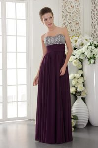 Dark Purple Empire Sweetheart Chiffon Vintage Evening Dress with Beaded Bust