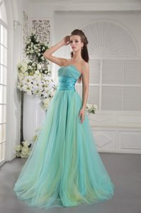 Aqua Blue Princess Brush Train Classy Evening Dresses with Beading