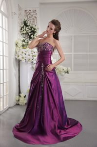 Embroidery and Ruched Purple Designer Evening Dress with Brush Train