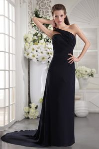 Black One Shoulder Brush Train Evening Dresses Under 100