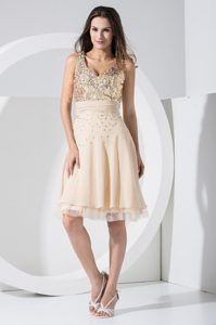 V-neck Knee-length Summer Evening Dresses with Sequins and Ruched Sash