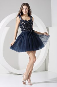 Flowery Chiffon Straps Mini Classy Evening Dresses with Sash in Navy Blue