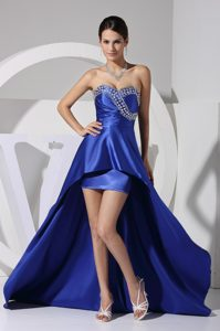 Royal Blue Beaded and Sequined Sweetheart Evening Dresses with High Low