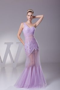 One Shoulder Mermaid Ruched Evening Wear in Lavender with Sheer Waist