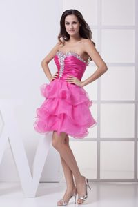Ruching and Diamonds Decorated Sweetheart Evening Dresses with Ruffles