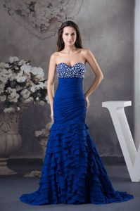 Beading and Ruffled Layers Decorated Women Evening Dress in Royal Blue
