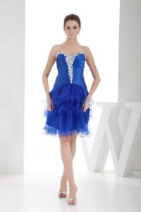Royal Blue Sweetheart Beaded Evening Gown Dresses with Ruffled Layers