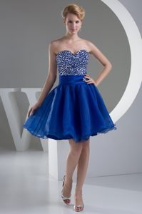 Sweetheart A-line Mini-length Royal Blue Summer Evening Dress with Beading