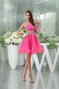 Hot Pink Mini-length Classy Evening Dresses with Beads and Cutouts in Organza