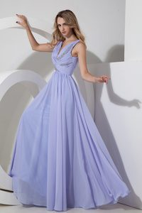 Ruching and Beading Plus Size Evening Dresses with V-neck in Lilac for Spring