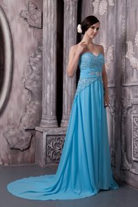 Aqua Blue Sweetheart Womens Evening Dresses for Fall with Sequins
