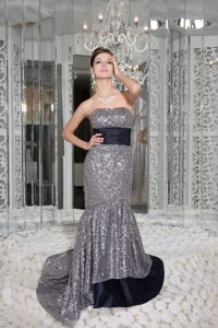 Beautiful Mermaid Strapless Evening Dresses for Women with Sequins and Sash